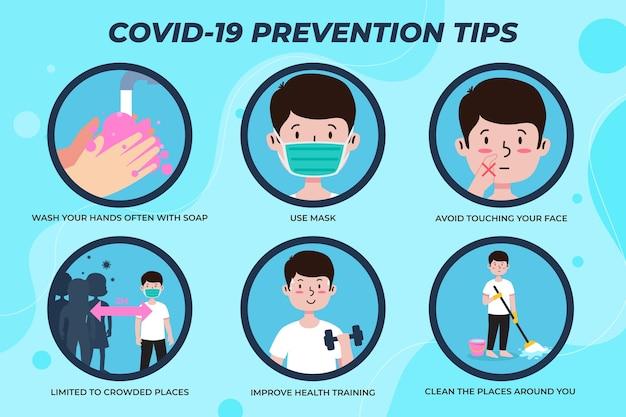 コロナウイルス予防インフォグラフィックテンプレートスタイル