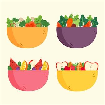 Салат и фруктовые миски
