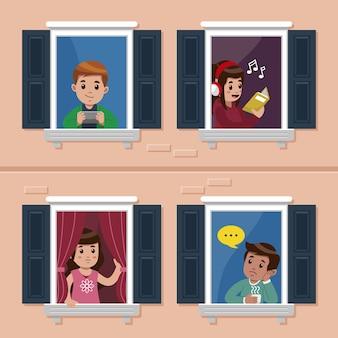 Люди делают досуг на окнах