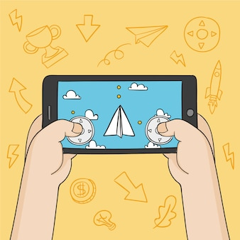 携帯電話で紙飛行機を遊ぶ