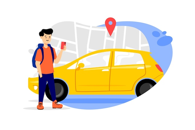 イラスト付きのタクシーアプリのコンセプト