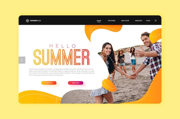 こんにちは夏のランディングページのデザイン