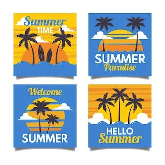 フラットなデザインの夏カードセットテンプレート