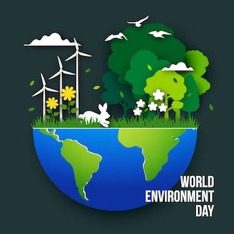 Иллюстрация всемирного дня окружающей среды в бумажном стиле