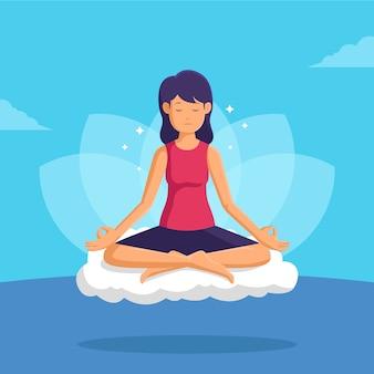 フラットデザインの瞑想の概念図