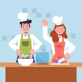 Люди готовят вместе дома