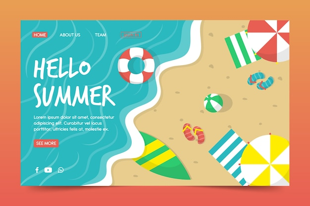 こんにちは夏のコンセプトのランディングページ
