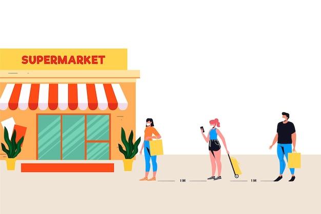 安全距離のスーパーマーケットキュー