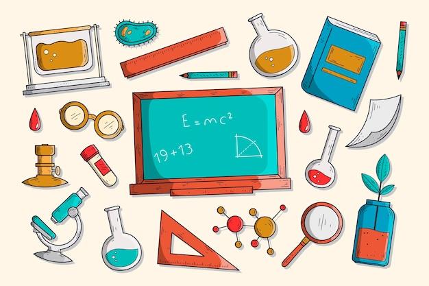 Нарисованный рукой фон образования науки
