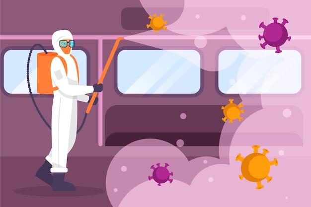 地下鉄を掃除する防護服の人