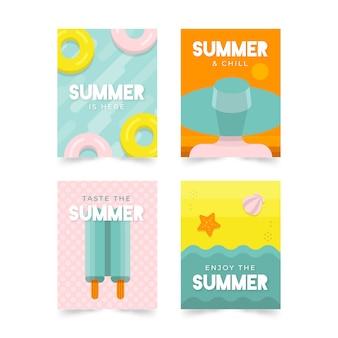 フラットなデザインの夏カードコレクションテンプレート