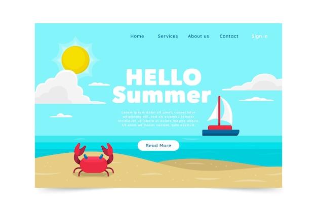 フラットデザインこんにちは夏のランディングページ