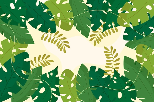 Оттенки зеленых тропических листьев копируют пространство