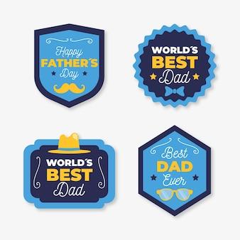 Плоский дизайн отцов день коллекция значков
