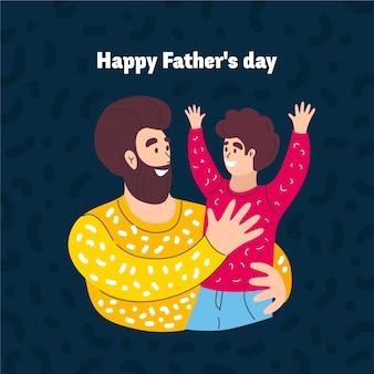 Нарисованная рукой иллюстрация дня отца при папа держа его сына