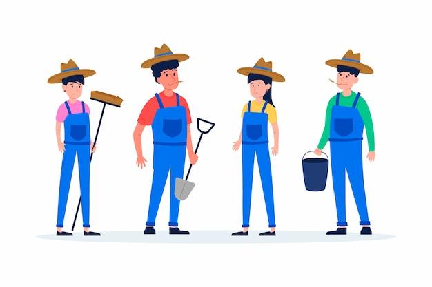 イラスト付きの農場労働者のセット