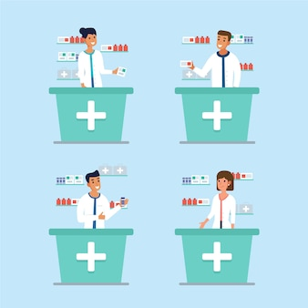 Коллекция иллюстрированных фармацевтов, работающих