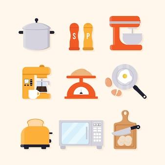イラスト付きのキッチン要素のセット