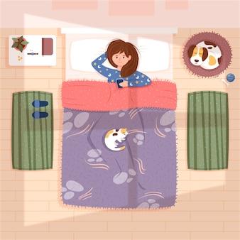 ベッドの中で女性との日常シーン