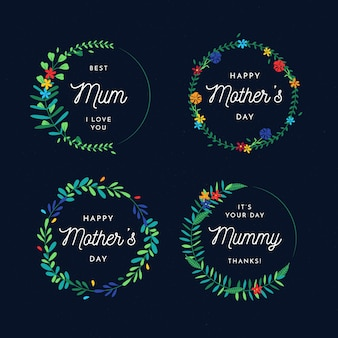 Плоский дизайн этикетки для матери
