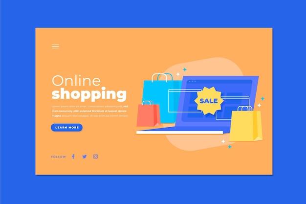 Иллюстрированный шоппинг онлайн целевой страницы