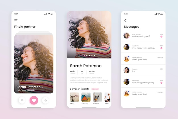 Интерфейс приложения для знакомств