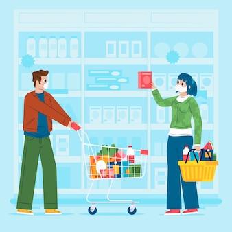 スーパーで食料品を買い物する人