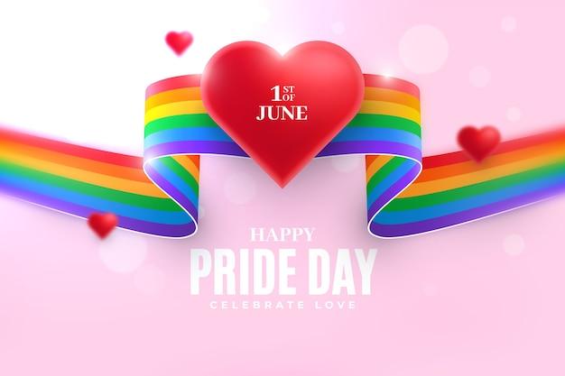 Фон ленты флаг гордости день с сердцем