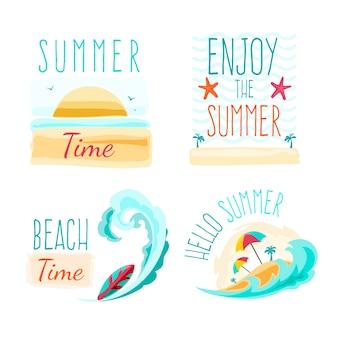 ビーチと夏のラベル