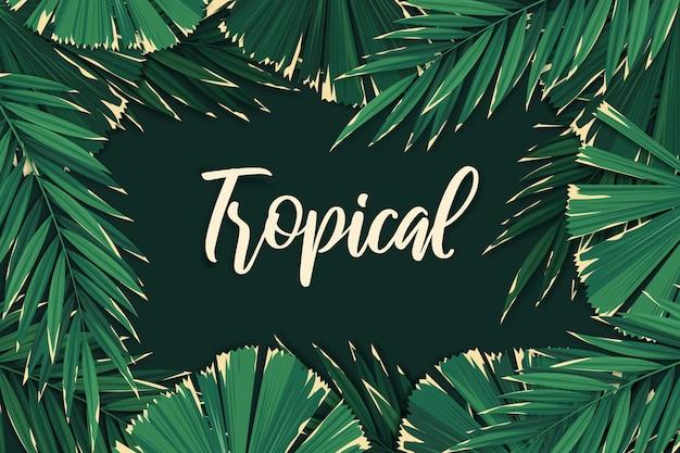 熱帯のレタリングの葉の背景