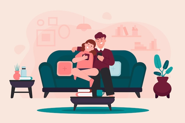 ソファーに座っている甘いカップル