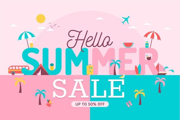 Плоский дизайн баннера привет летняя распродажа