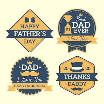 День отца значки в плоском дизайне