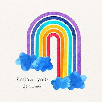 青い雲と水彩の虹