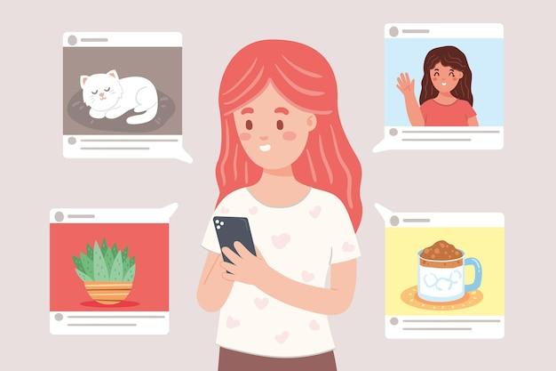 ソーシャルメディアのコンセプトでコンテンツを共有する