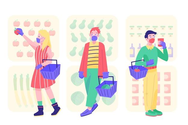 食料品の買い物をする医療用マスクを持つ人々