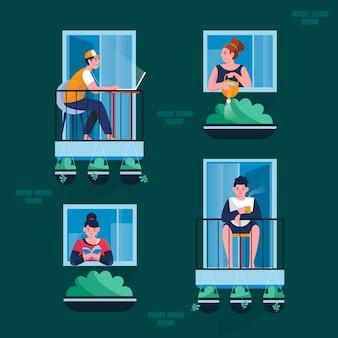 Люди на балконе проводят время на карантине