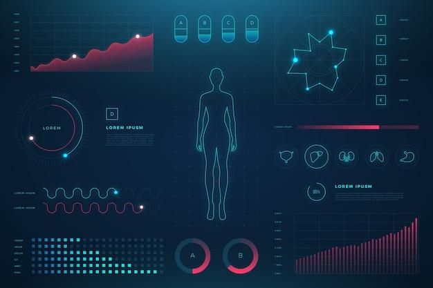 詳細と未来的な医療インフォグラフィック