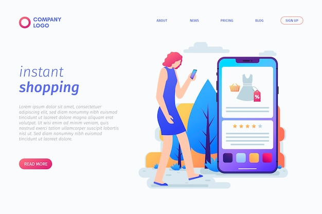 Покупки онлайн целевой страницы плоский дизайн