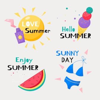 Набор рисованной летних этикеток