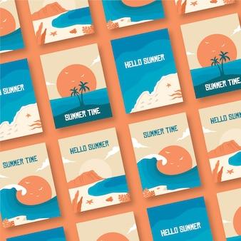 Шаблон коллекции летняя карта плоский дизайн