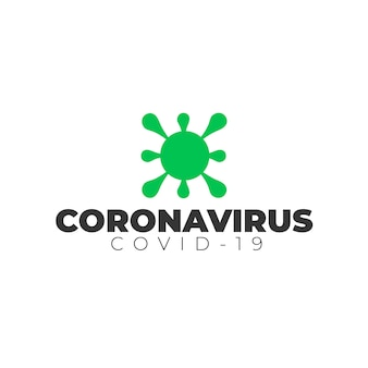 Логотип коронавируса со шрифтом и значком