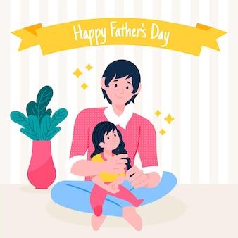 Счастливый день отца с папой держит дочь