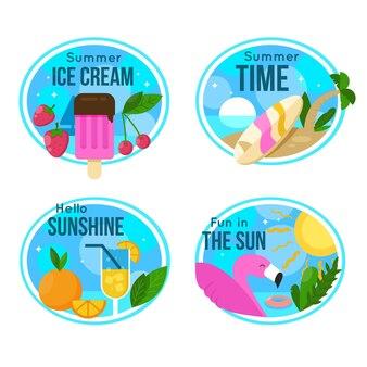 Плоский дизайн летних этикеток