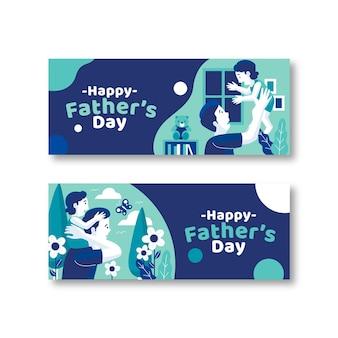 Плоский дизайн шаблона день отцов баннеры
