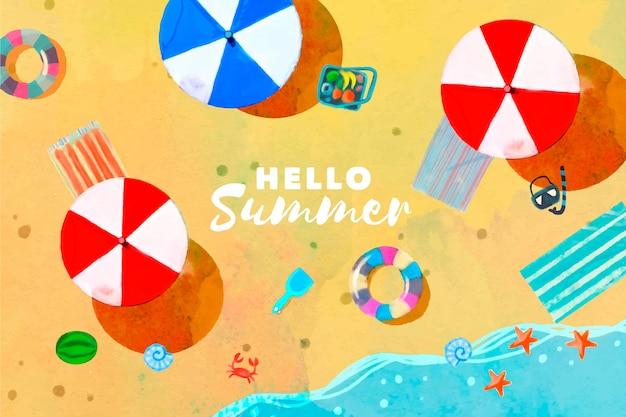 Акварель привет лето с пляжем и зонтиками
