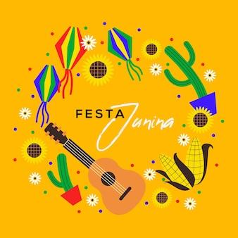 ギターとサボテンのフラットデザインフェスタジュニーナ