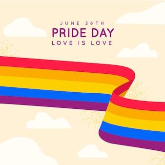 空に虹のプライドの日旗