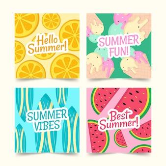 Шаблон коллекции летней карты в плоском дизайне