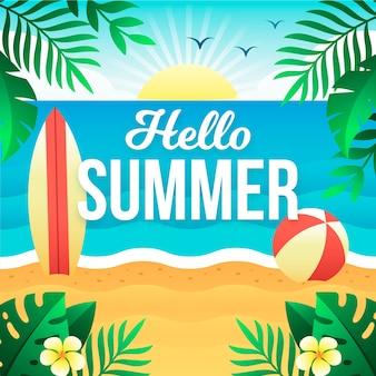 Привет лето в плоском дизайне